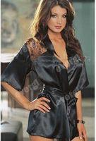 Women's super sexy Black color Sleepwear lace V- neck underwear short sleeve dresses Free shipping