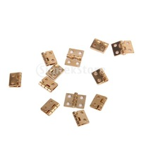 Free Shipping 12pcs Cabinet Closet Mini Hinge for 1/12 Dollhouse Miniature Furniture - Golden