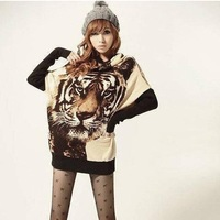 East Knitting AS-011 Fashion Women Tiger print Tops Casual Jumper Animal Pattern Long Sleeve Sweater Warm Pullover Free Shipping