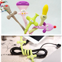 Free shipping 50pcs/lot fashion animal dog elephant duck mouse hippo earphone cable winder line storage phone charm cable tidy