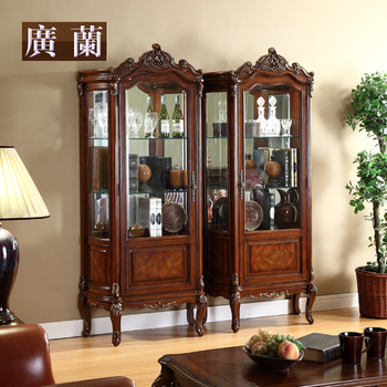 Free shipping Furniture american style solid wood tv cabinet combination single door wine cooler handmade carved qm40