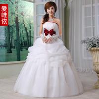 Love bow bride wedding sweet princess wedding dress Wine red bow