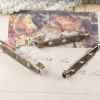 Pin brooch Base, safety pin, pin bar, 35mm, antique bronze,  wholesale