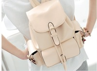 2014 New arrival women's fashion elegant Dual-pocket Pu leather backpacks/student bags free shipping 4B2