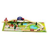 40 track toy wooden building blocks set gift box set compatible thomas small train