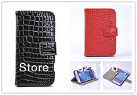S05 Crocodile Grain Flip Stand Holder Wallet Leather Case Cover Skin for Samsung Galaxy S4 SIV I9500 Credit Card Slot