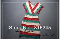 hot women's dress big v-neck biutterfly sleeves striped dress high waist close-fiting dress ruffles party dress
