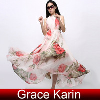 Free shipping Grace Karin Women Cocktail Party Floral Dresses Summer Maxi Sleeveless Chiffon Evening Dress KX165