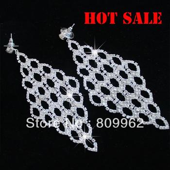 Summer Sale Free Shipping 6pcs/lot Rhinestone Earrings Fashion Bridal Drop Earrings Wedding Dress Accessories Silver Plated