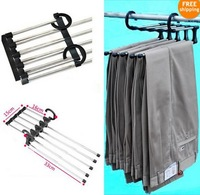 Free Shipping Stainless steel Trousers Pants Scarf Skirt Magic Hanger Rack Space Saver Organizer