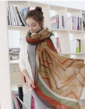 autumn and winter warm oversized COTTON VOILE  scarf shawl overlength Geometric Print wholesale Beauty for women