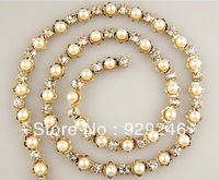 free shipping 1 yard 0.75cm wide ABS pearl clear crystal rhinestone cup chain trims applique gold plating for garment sewing