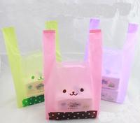 20*38(h)cm, cute smiling bear design plastic shopping bags, market vest bag, packaging bag