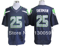 Free Shipping American Football Jerseys Cheap Seattle #25 Richard Sherman Blue White Elite Jerseys, Size: S-XXXL,Mix Order
