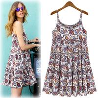 Free shipping 2014 summer bohemia chiffon suspender dresses fashion women's ruffle beach dress slim one-piece dress