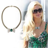 X135 24 k gold plated  Hilton  emerald gem full rhinestone bow pendant necklace female free shipping (Min order $10 mixed order)