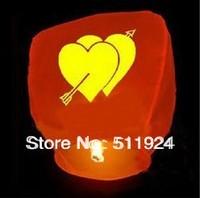 10pcs/lot Free Shipping Chineses Kongming Lantern Flying Sky /sky lanterns heart (Random Color)