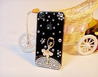 Kingcase Free shipping New 3D Ballet Girl flower Diamond Bling back cover Case for iphone5 ,retail   package+1 screen protector