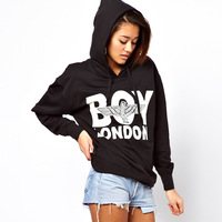 Womens cotton hoodie with boy london print for wholesale and freeshipping