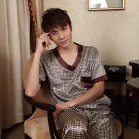 Male silk sleepwear summer short-sleeve set noble split sleepwear short sleeve length pants lounge