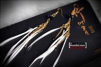 Free Shipping Yaju bohemia fashion crystal gold chain white feather long earrings