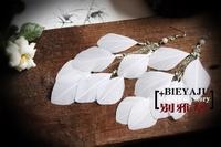 Free Shipping Yaju bohemia handmade white feather earrings