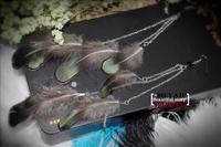 Free Shipping Yaju bohemia vintage fashion  feather long earrings