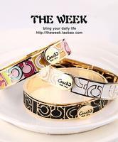 2014 fashion vintage multicolour paint wafer big c bangles hand ring women spring and summer 14k gold bracelet