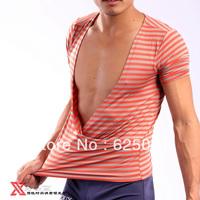 Freeshipping!Male Big V collar fashion T-shirt mercerized cotton stripe men's Tank Tops