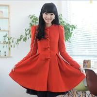 2013  dress skirt pendulum woollen beautiful coat for women with beautiful bow buttons