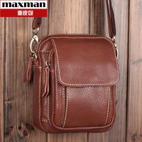 Genuine leather messenger bags casual man waist pack small cross-body bag women's handbag male leather bag shoulder bags for men