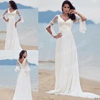Free Shipping Sheath V-Neck Chiffon Court Train Casual Beach Wedding Dress 2012 Plus Size With 3/4 Sleeves WDB1409