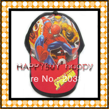 free shipping 20pcs / lot spider man black cartoon Kid Child Hat Baseball caps