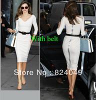 Free shipping 2013 Newest Women Deep V-Neck Zipper Back Bodycon Empire Waist Three Quarter Sleeve Brief Dress With Belts