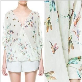 Fashion 2013 new arrival V-neck print three quarter sleeve loose shirt top women chiffon blouse shirt