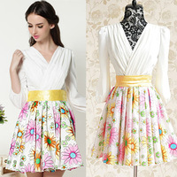 women 2013 summer white daisy ver jacquard slim waist expansion bottom one-piece dress