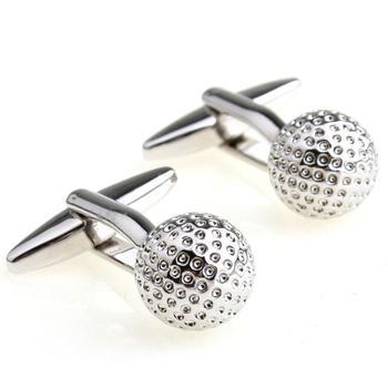 Rare Novelty Wedding Groom Shirt Suit Cuff Links Plain Metal Silver Color Golf Ball Shape Cufflinks Gift New 155894