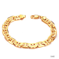 "Gold Filled Chain Bracelet Mens Jewelry 18K Yellow Gold Plated Copper Bracelets Engraved Flat Marine Chain 22cm 8.7"" Inch Long"
