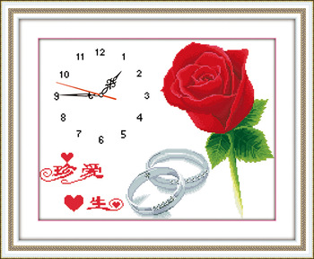 Print cross stitch clock rose lovers series