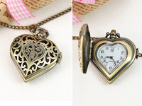 Fashion bronze women's flip cutout heart necklace lovers pocket watch graduation gift