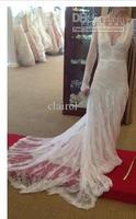 Wholesale - Floor Length TLong sleeve A-line V-neck Inbal Dror Mermaid Satin Lace Wedding Dresses