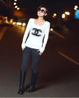 fashion women's cotton long sleeve t-shirt shirts tees tops bouse black white free shipping