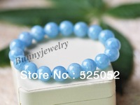 "Min.order is $10(mix order) Free shipping! Fashion 7"" Light Blue 10mm Aquamarine Beaded Bracelet For Gift"