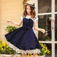 2014 summer young girl dress one-piece preppy style sweet polka dot chiffon princess dress dress women