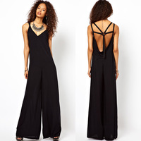 2013 Free shipping 5 cross cutout back of the deep V-neck shoulder strap trouser black long jumpsuit