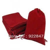 Free Shipping,100pcs/Lot 5*7cm Dark Red Retail Jewelry Velvet Gift  Packaging Drawstring Bags & Pouches