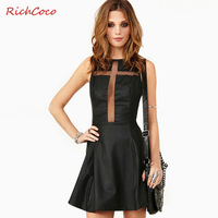 2013 Free shipping women clothing Sexy gauze  cross patchwork racerback top tube o-neck PU one-piece dress tank dress