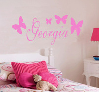 PERSONALISED BUTTERFLY WALL STICKER WITH ANY GIRLS NAME