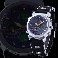 Aosheng ohsen lcd pointer dual display luminous quartz women's male general watch blue