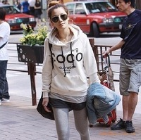 Free shipping Coco 2012 thickening fleece letter with a hood sweatshirt women's